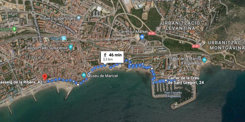 Recorrido caminando por la costa de Sitges