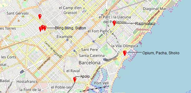 Mapa zonas de fiesta Barcelona