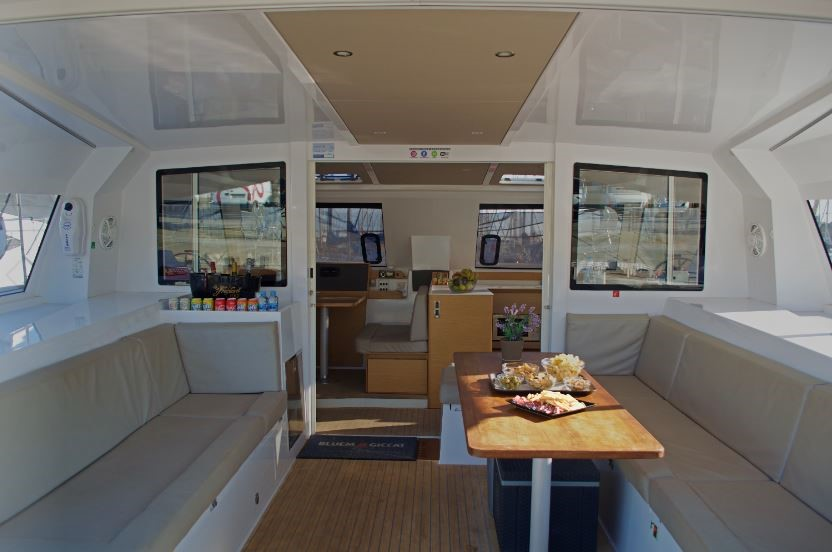 Inside catamaran