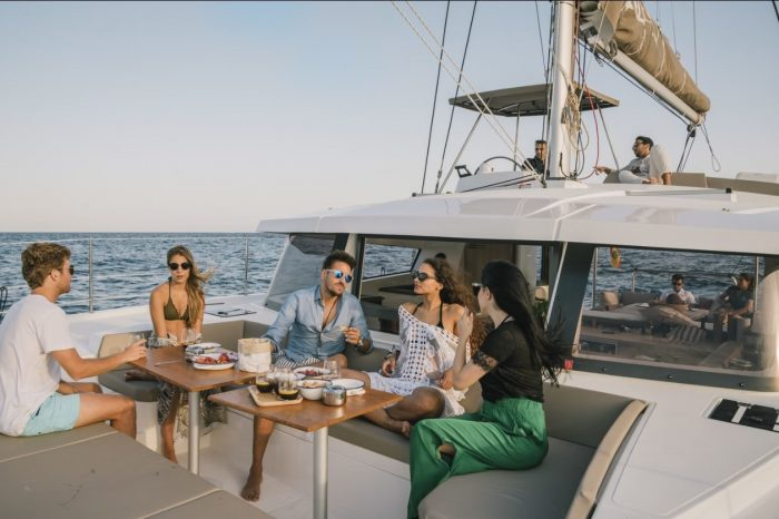 Luxury catamaran Barcelona outside