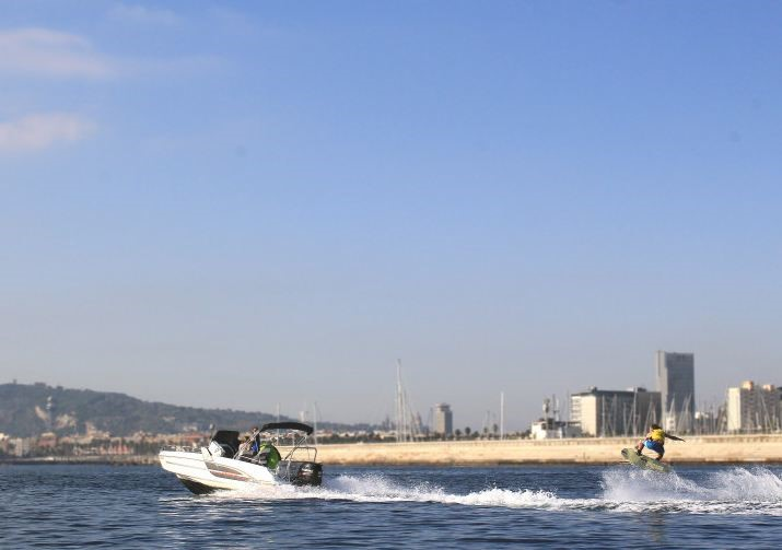 Speed boat with wake in Barcelona