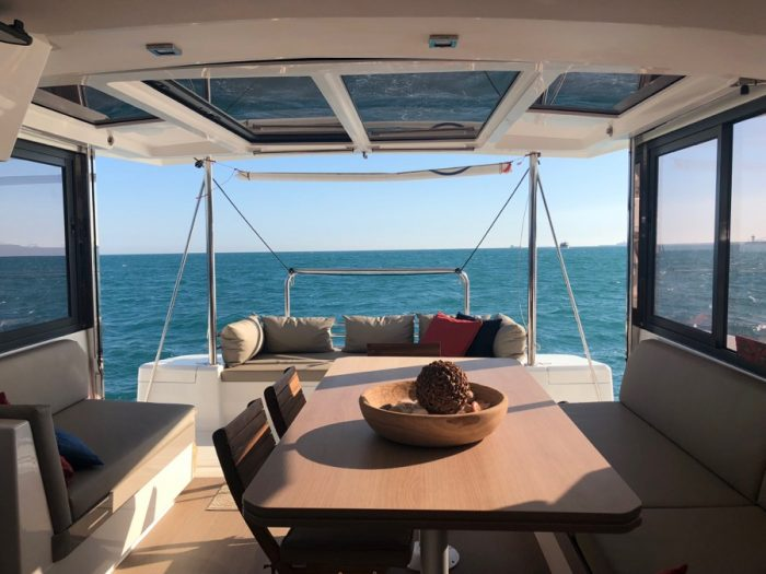 inside luxyry catamaran barcelona