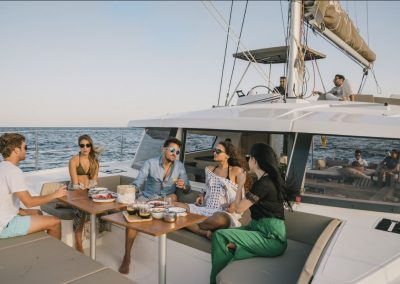 chilling out in the luxury catamaran barcelona