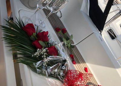 roses on board romantic boat trip