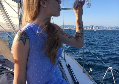 wine tasting in a boat